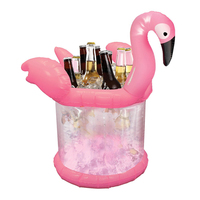 Inflatable Flamingo Ice Bucket Pool Float Fruit Beer Drink Kids Adults Summer Swimming Party Fun Water Floating Island Buoy Toys
