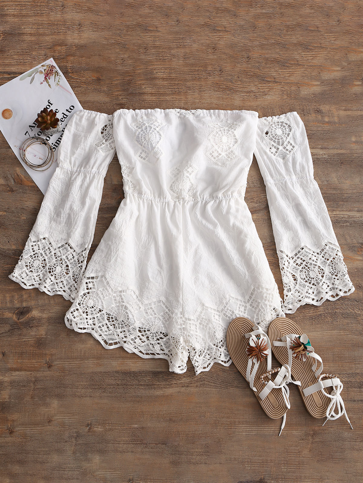 c9112a3a6df2 ZAFUL 2018 New Women Cover Ups Off Shoulder Crochet Panel Romper Exposed  Shoulder Scalloped Summer Beach Cover Up for Female