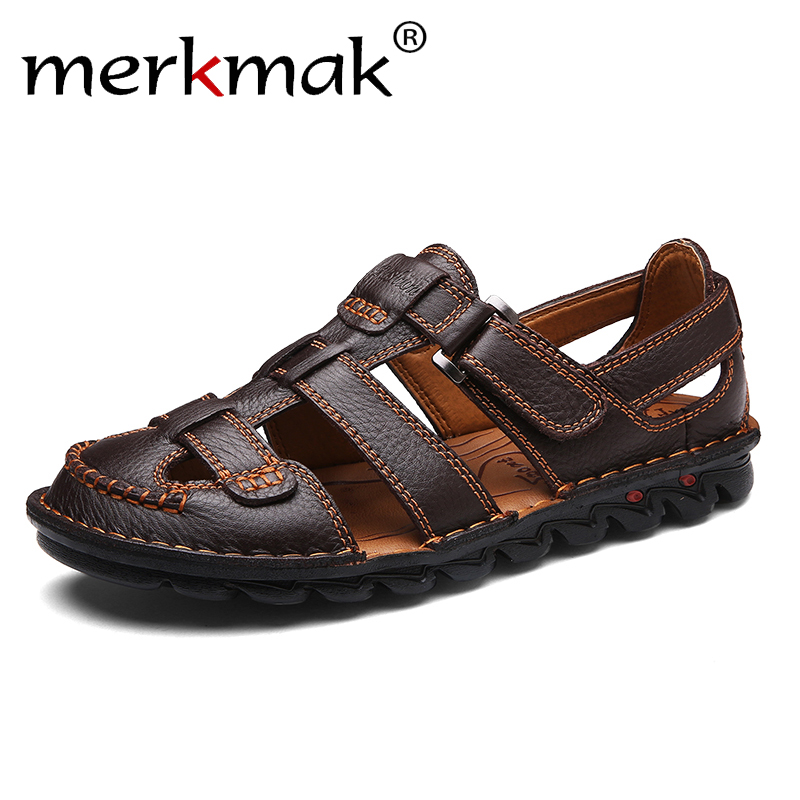 Merkmak Mens Summer Breathable Sandals Genuine Leather Beach Shoes Men's Casual Non-slip Comfortable Slippers Man Flat