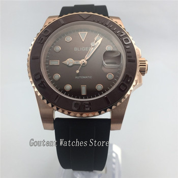 Bliger 40mm Brown Dial/Bezel Rose Gold Case Automatic Mens Watch W2885