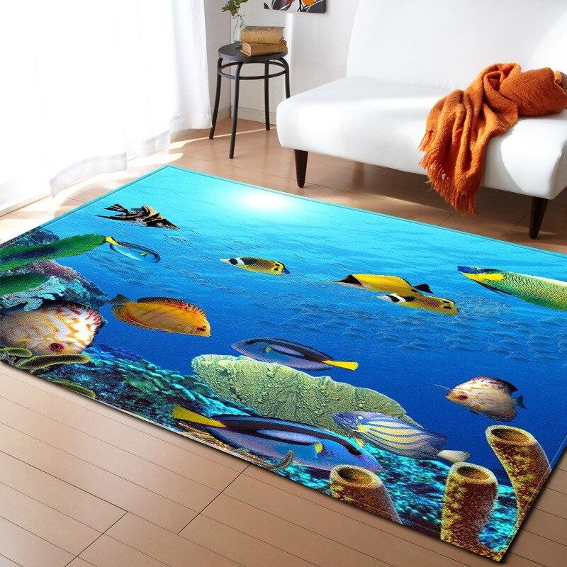 3D océan monde tortue poisson zone tapis enfants décoration tapis mémoire mousse antidérapant tapis doux flanelle tapis salon R615