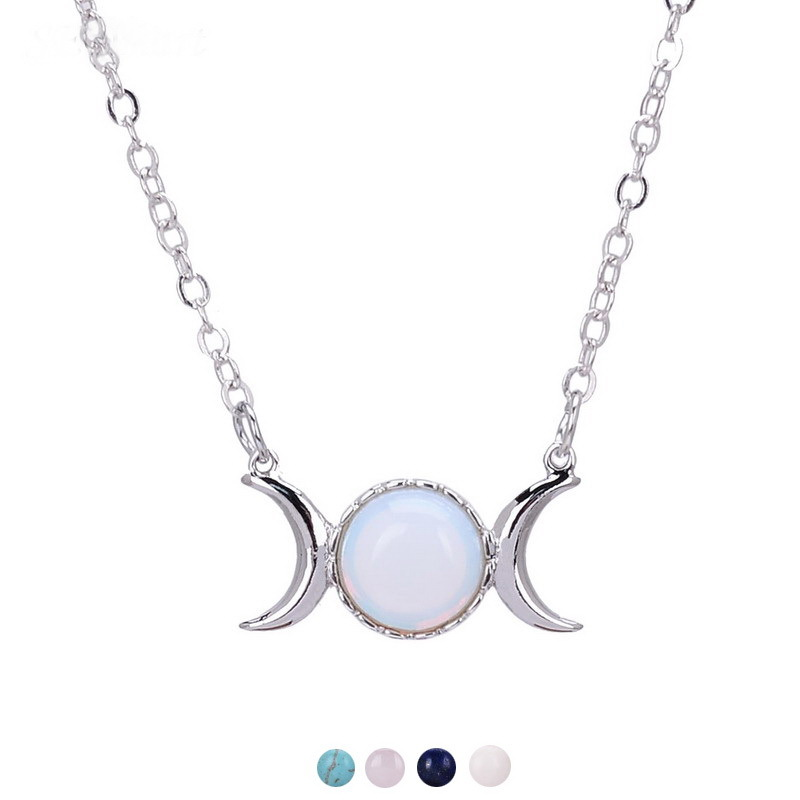 Новый тройной богиня луны символ ожерелье с подвеской в виде полумесяца опал Исцеление Кристалл Натуральный Камень Сейлор Мун кулон для же...