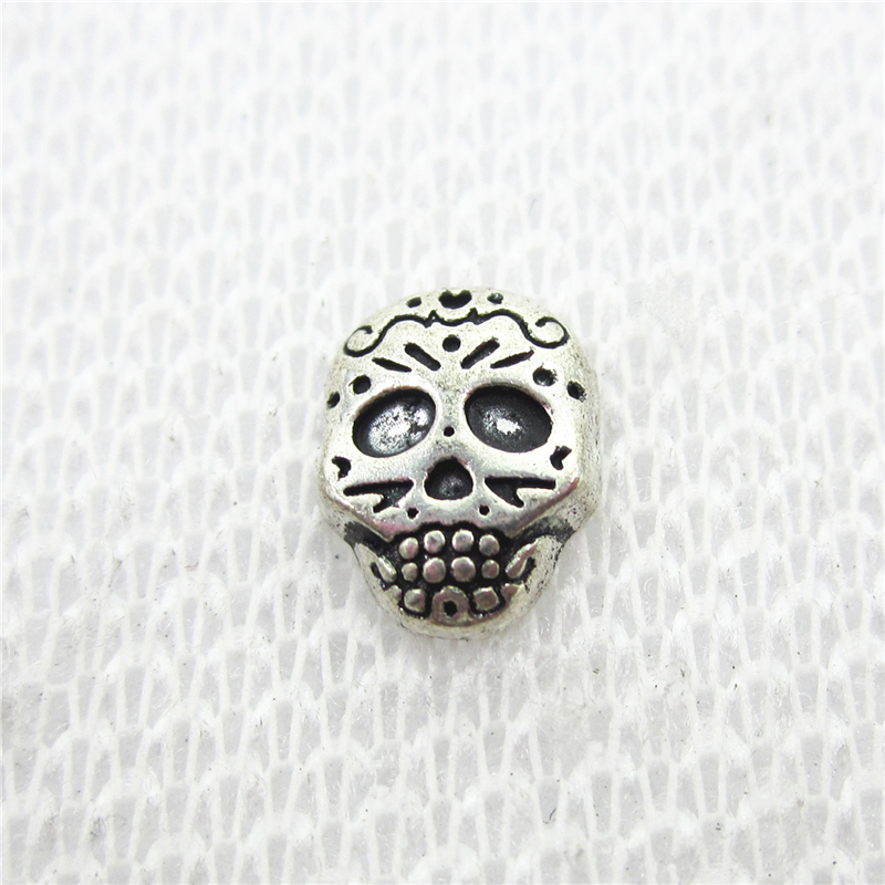 Wholesale 50pcs/lot Antique Silver Skull Floating Charms Living Glass Memory Floating Lockets Diy Jewelry Charms Jewelry & Accessories Jewelry Sets & More