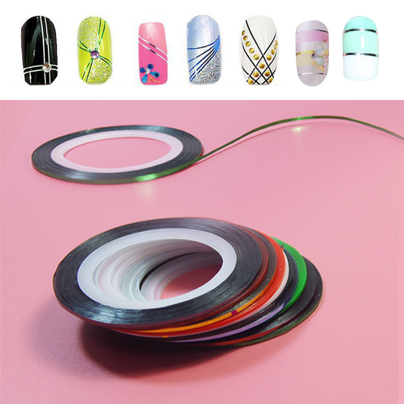 10Pc/set Mixed Colors Nail Rolls Striping Tape Line DIY Nail Art Tips Decoration Sticker Nails Care For Nail Polish Makeup Tools 30pcs pack 2m mixed colors rolls 3d striping tape line diy nail art decoration sticker uv gel polish tips metallic yarn decal