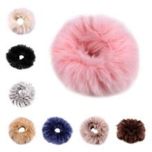 Фотография Faux Rabbit Fur Headbands Elastic Hair Ring Rope Band Round Fluffy Pompom Hair Accessories for Women Lady