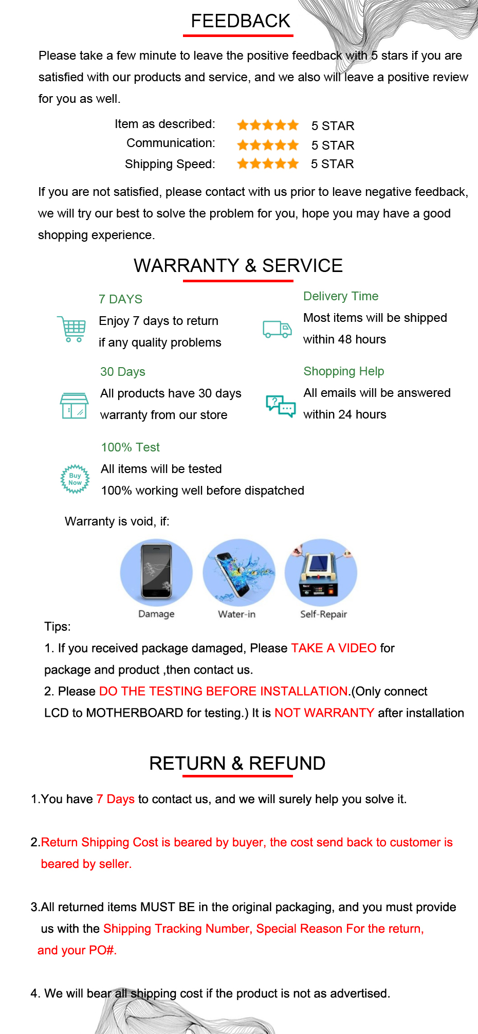feedback+warranty+return