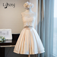 2 Pieces Lace Tank With Knee Length Satin Skirt Fashion Homecoing Dresses Bow Graduation Dresses For