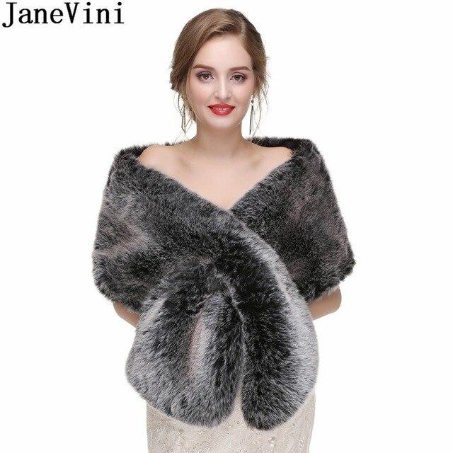 Janevini 2018 Winter Bridal Fur Cape Silver Black Faux Bride Bruids Bolero Wedding Capes Coat