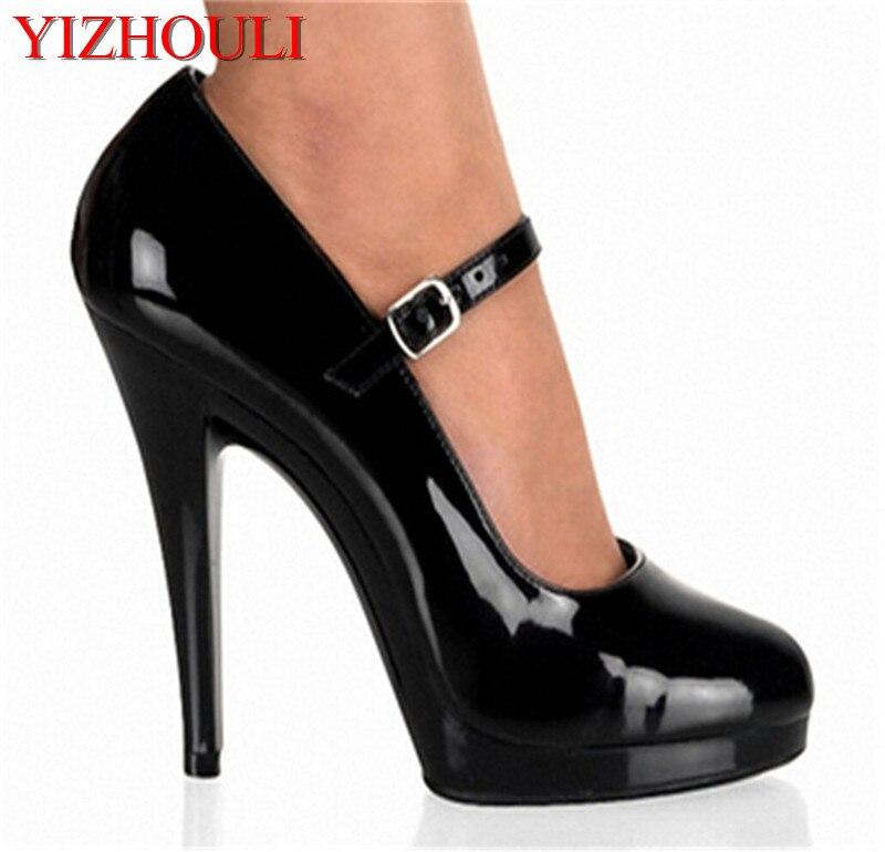Ayakk.'ten Kadın Pompaları'de Siyah Ayak Bileği Kayışı Stil 13 cm yüksek topuklu sandalet Platformları Kutup Dans Model Ayakkabı 5 inç kapak topuk bayan ayakkabıları'da  Grup 1