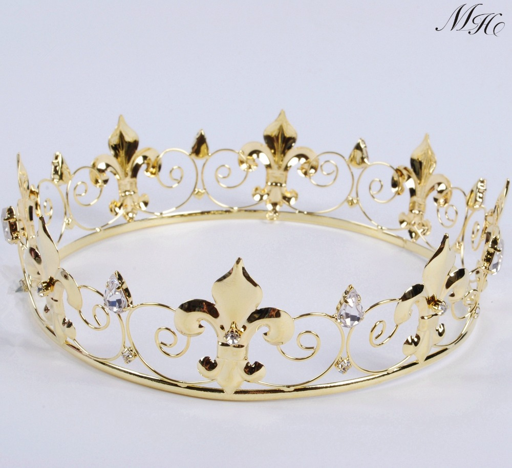 Crowns full circle round tiaras rhinestones crystal wedding bridal - Imperial Medieval Golden Crown Round Tiara Clear Rhinestones Diadem Wedding Bridal Pageant Art Deco Party Costumes