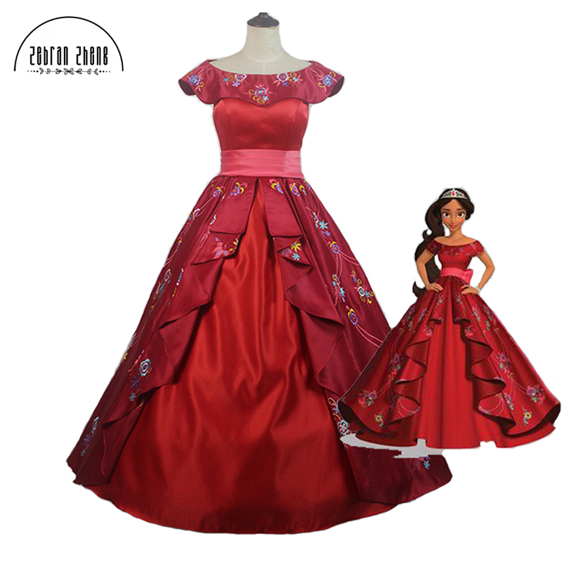 Elena of Avalor Princess Elena Cosplay Kostuum Rood Luxe Borduurwerk - Carnavalskostuums