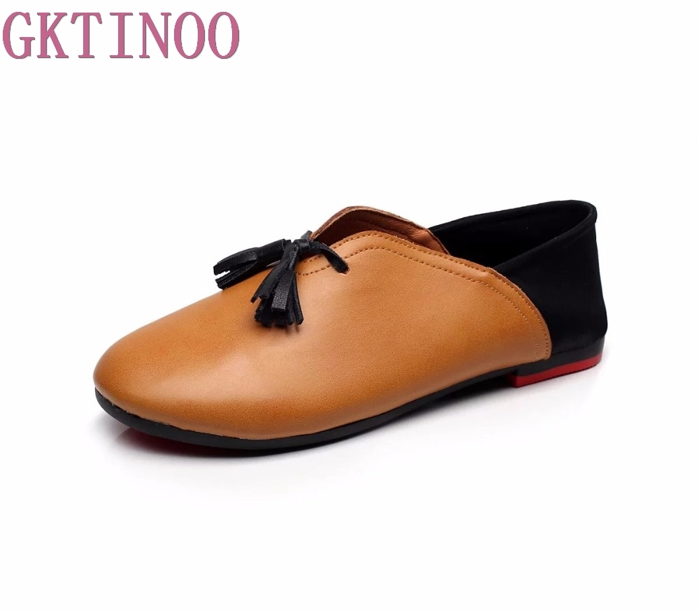 Handmade Genuine Leather Women Loafers Tassel Fashion Round Toe Ladies Flat Shoes Woman Slip On Flats Casual Shoes top quality women flats genuine leather slip on women pointed toe loafers brand oxford shoes for women flat shoes ladies shoes