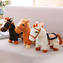 Electric Music Pony Plush Toy Stuffed Animal Walking Talking With Reins Kids Birthday Gifts