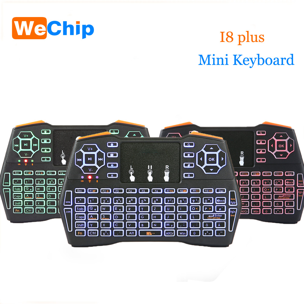 Mini I8 plus Keyboard 2.4G Wireless Air Mouse Backlight Touchpad Remote controller English or Russian Or Spain Standard Keyboard Keyboards    - title=