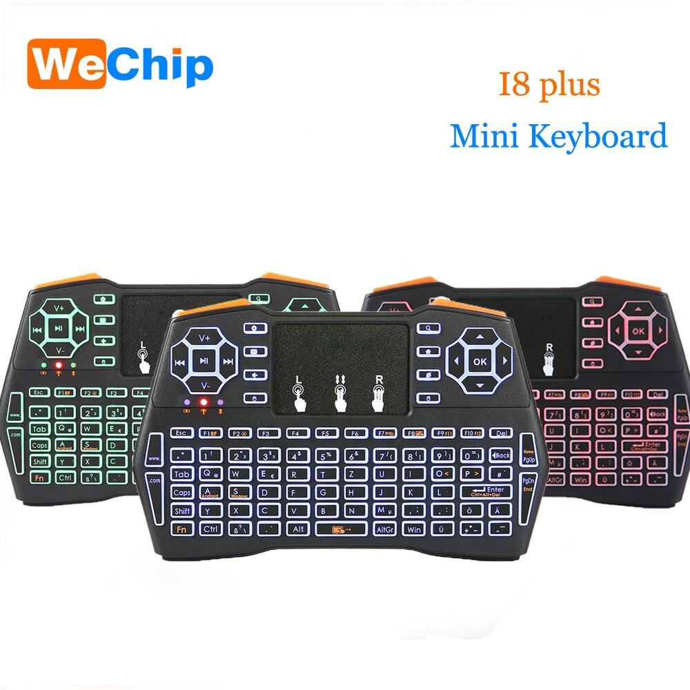 Mini I8 plus Tastatur 2,4g Wireless Air Maus Hintergrundbeleuchtung Touchpad fernbedienung Englisch oder Russische Oder Spanien Standard Tastatur