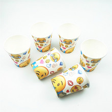 6pcs/set emoji cups kids birthday party supplies paper cup happy wedding decoration baby shower tableware favors