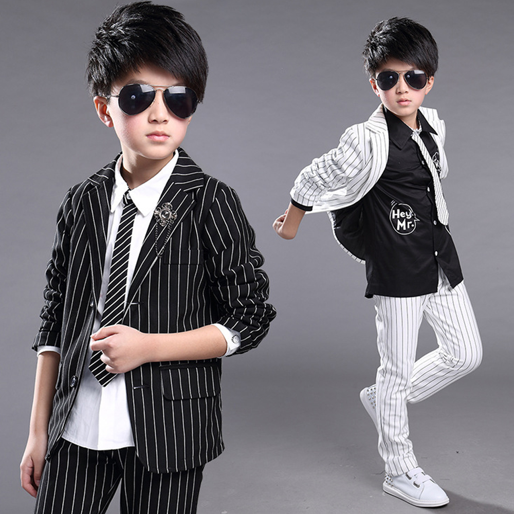 2017 Spring High Quality Gentleman Suits Fashion Striped Full Sleeve Coats Pants Toddler Boys Clothing Sets Kids Formal Costumes kindstraum 3pcs boys gentleman formal suits cotton long sleeve shirt vest denim pants toddler kids wedding clothing sets mc951