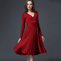Spring And Autumn Fitted The New European And American Sexy Long Sleeved V Neck Pleated Pleated