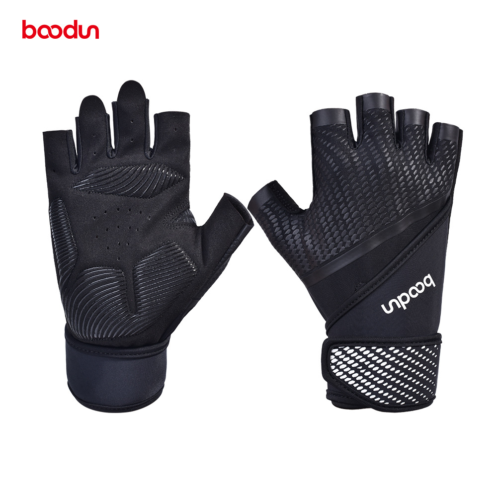 BOODUN Men Gym Gloves Shockproof Bodybuilding Weight Lifting Gloves Crossfit Fitness Sport Training Gloves With Wrist Straps