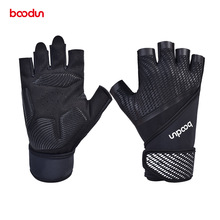 Men Women Gym Gloves Shockproof Bodybuilding Weight Lifting Gloves Crossfit Fitness Training Gloves with Lengthen Wrist Straps