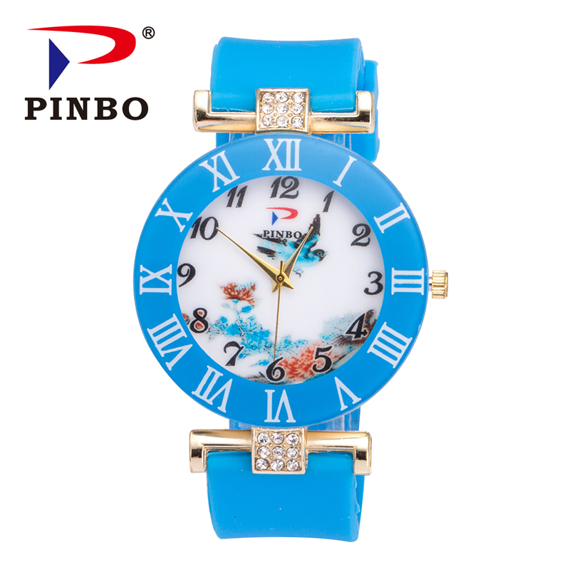 PINBO New Famous Brand One Flying Bird and Flowers Pattern Casual Quartz Watch Women Silicone Jelly Watches Relogio Feminino Hot new pinbo famous brand lamei flowers casual quartz watch women silicone jelly watches ladies clock relogio feminino hot sale