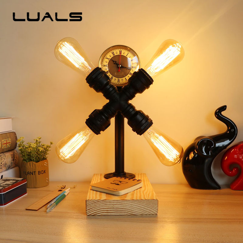 Edison Retro Table Lamp Creative Wooden base Mesa Deco Desk Lamp Industrial Style Water Pipes Desk Light 4 Lamp Indoor Lighting industrial vintage table lamp simple water pipes desk light cafe bar small table light contain led bulbs mesa loft art lighting