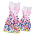 Family Fitted Mother and Daughter Dress 2017 New Girls Pink Butterfly Printed Sleeveless Dresses Teenage Dress Children Clothing
