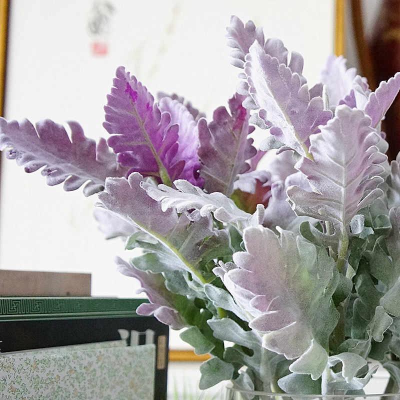 توافد الاصطناعي ميلر النباتات الأرجواني يترك المنزل الزفاف عيد الميلاد DIY الديكور وهمية الزهور ترتيب فو أوراق الشجر