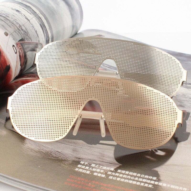 Vazrobe Sténopé Lunettes Steampunk Lunettes Hommes Or Argent Cool lunettes de Soleil avec Hallow Hip Hop One Piece Stim Punk Lunettes Homme