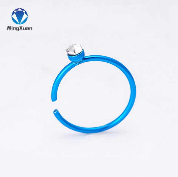 MINGXUAN 40 шт./кор. красочные 316L из нержавеющей стали кольцо-гвоздик в нос тело пирсинг для губы ювелирные изделия в стиле панк