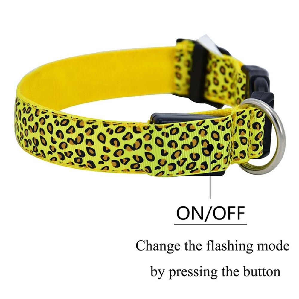 160 шт./лот светодио дный ошейник мигающий в темно 3 режима освещения Безопасности Регулируемая Нейлон Leopard Pet Воротник световой животное аксессуары - 3