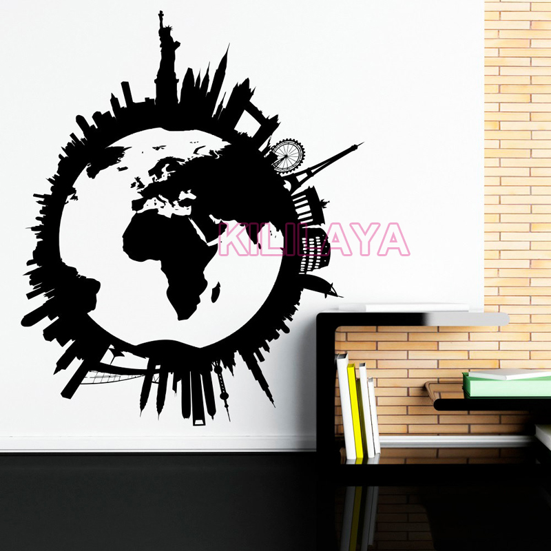 Global world map vinyl wall art travel city wall stickers wall global world map vinyl wall art travel city wall stickers wall decals wallpaper for living room home decor house decoration in wall stickers from home gumiabroncs Gallery