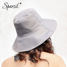 63484cd3d9b Sparsil Women Summer Foldable Bucket Hats Wide Brim Solid Color Beach Caps  Spring New Sun Protective