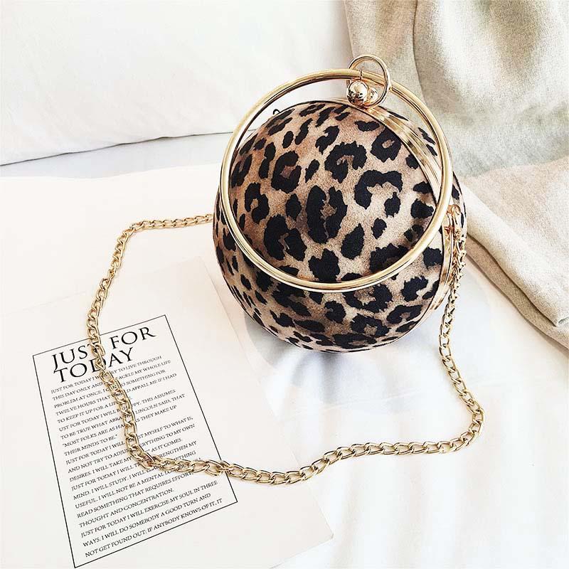 Ladies leopard Pattern bag round clutch handbag Evening party bag Shoulder Crossbody Chain Purse Handbags bags for women 2018 цена