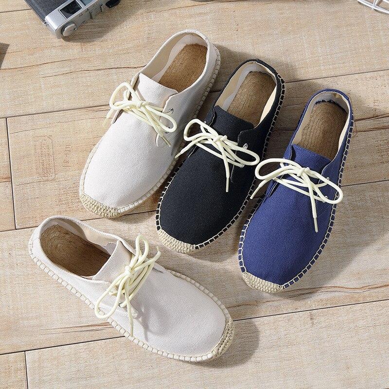 Verano Lona Cuerda blanco azul Cordones Transpirables Mocasines Negro Zapatos Con Moda De 2018 Sólidas Oudiniao Hombres Los Cáñamo Alpargatas xIBdPPf