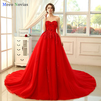 Vestido De Noiva Ball Gown Princess Red Wedding Dress Bead Lace Luxury Bruidsjurken Rrobe De Mariage