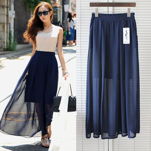 e13870b9b Gasa Maxi falda de moda coreana Faldas Largas de verano para mujer ...