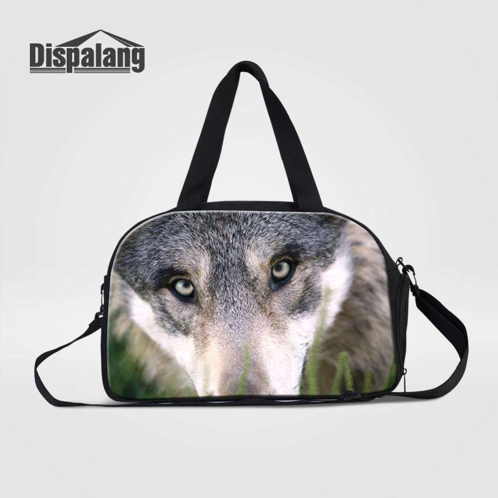 Dispalang Large Capacity Travel Bag Men Duffle Luggage Bags Wolf Print Casual Tote Portable Handbags Women Weekend Bags Sac