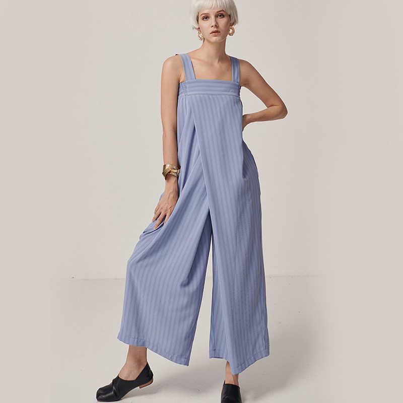 [EAM] 2019 новые весенне-летние шорты с завышенной талией и карманами стежка синяя полосатая широкая нога длинные свободные брюки женский комбинезон Мода Tide JW333