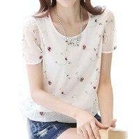 2016 summer style women shirts flower embroidery vintage floral mesh woman blouse short sleeve chiffon shirt