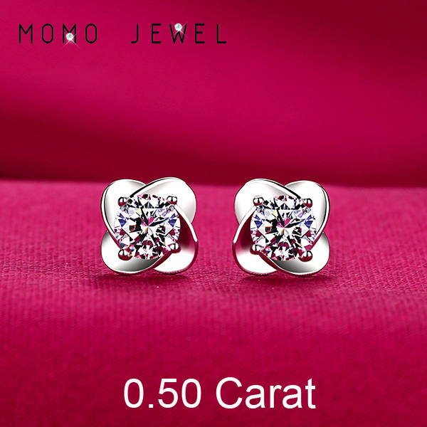 Ce016 0 5 Carat Top Quality Synthetic Diamond Earrings For Women Wedding White Gold Plated Stud