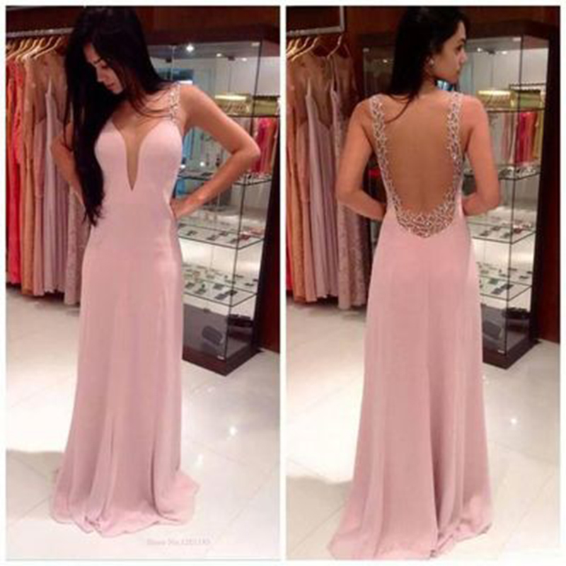 Simple Pink Long   Prom     Dresses   Sexy Backless Floor-Length A-Line Evening Gown 2019 Cheap Clothes China Vestidos De Baile Abiye