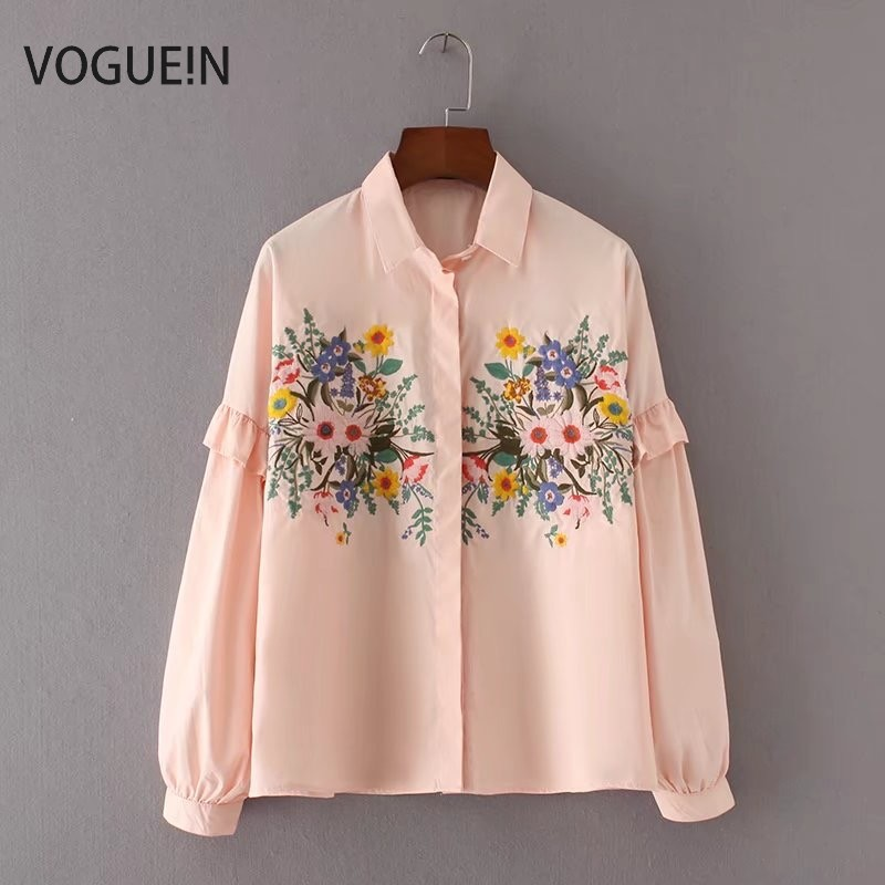 VOGUEIN New Womens Ladies Floral Embroidered Blue/Pink Long Sleeve Lapel Blouse Tops Shirt Wholesale