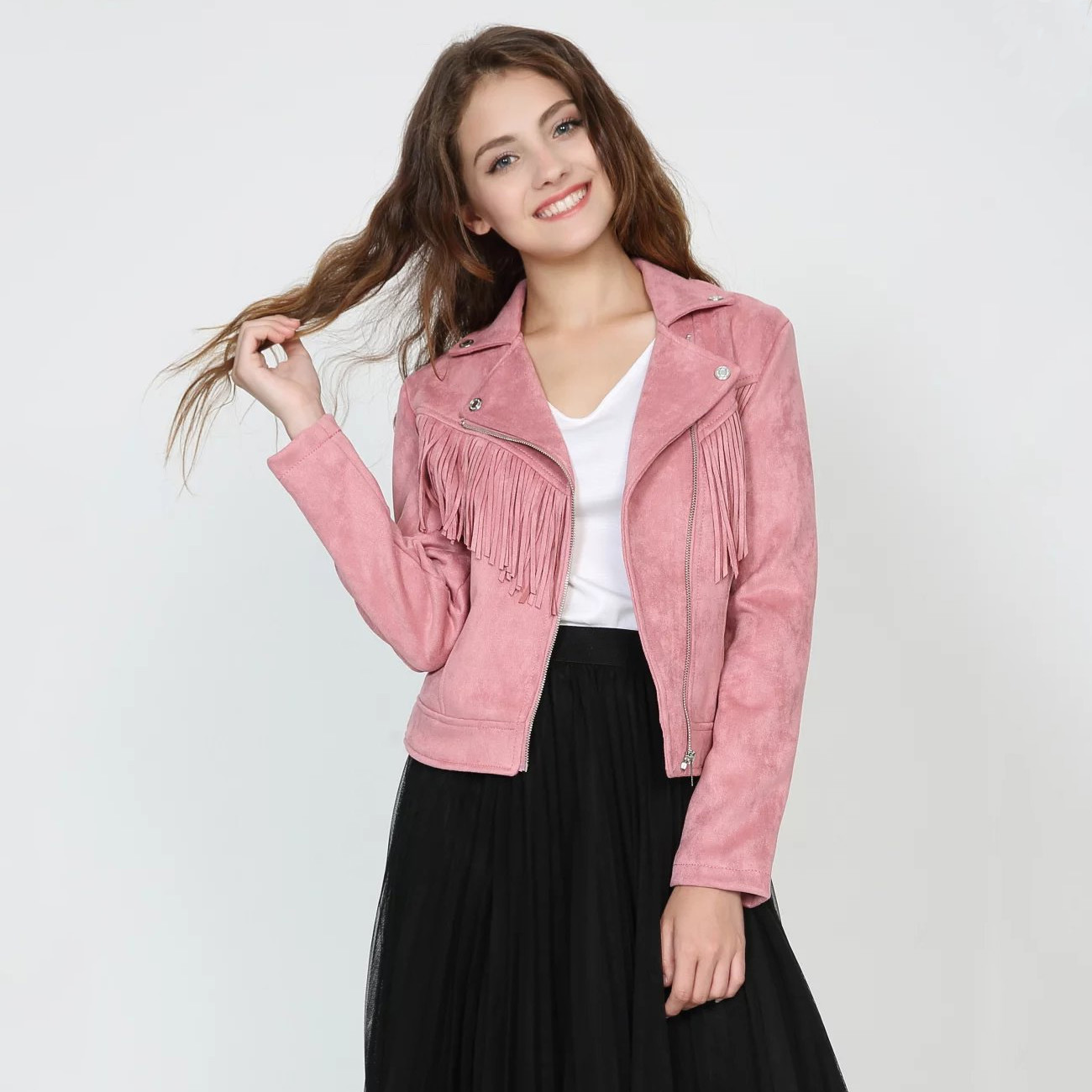 Laides Moto Biker Faux   Leather   Jacket New Spring Autumn Slim Short Pink Women Tassels   Suede   Jacket Turn Down Collar Punk Coats