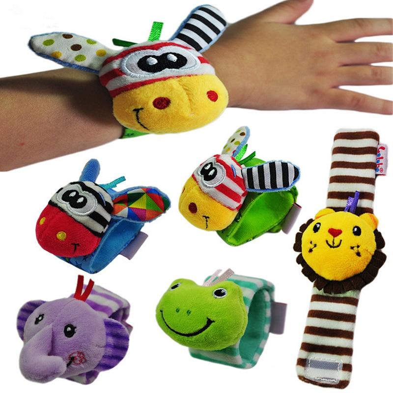1pc Kids Cartoon Baby Plush Wrist Strap Rattles Toys 0-12 Months Children Infant Newborn Soft Animal socks Rattles Mobiles DS19