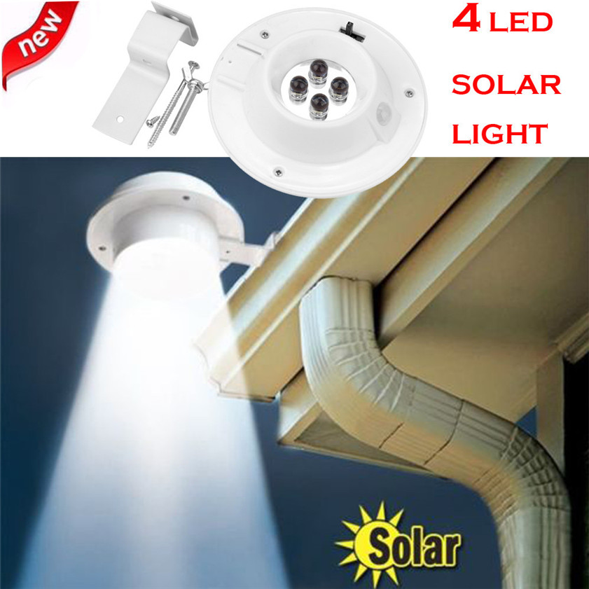 High Quality New 4 LED Solar Powered Gutter Light Outdoor/Garden/Yard/Wall/Fence/Pathway Lamp