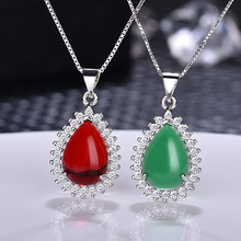 Drops Water Carnelian Pendant Necklace for Women Chalcedony Fashion Jewelry Natural Triangle Necklace charming coin triangle pendant necklace for women