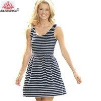 BALIWEISA 화이트 블랙 줄무늬 기본 미니 드레스 여성 우아한 민소매 느슨한 캐주얼 코튼 드레스 여름 새로운 여성 최소 드레