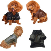 New PU Leather Fashion Plush Pet Clothing Autumn Winter Dog Coat Thicken Warm Windproof Puppy Jacket