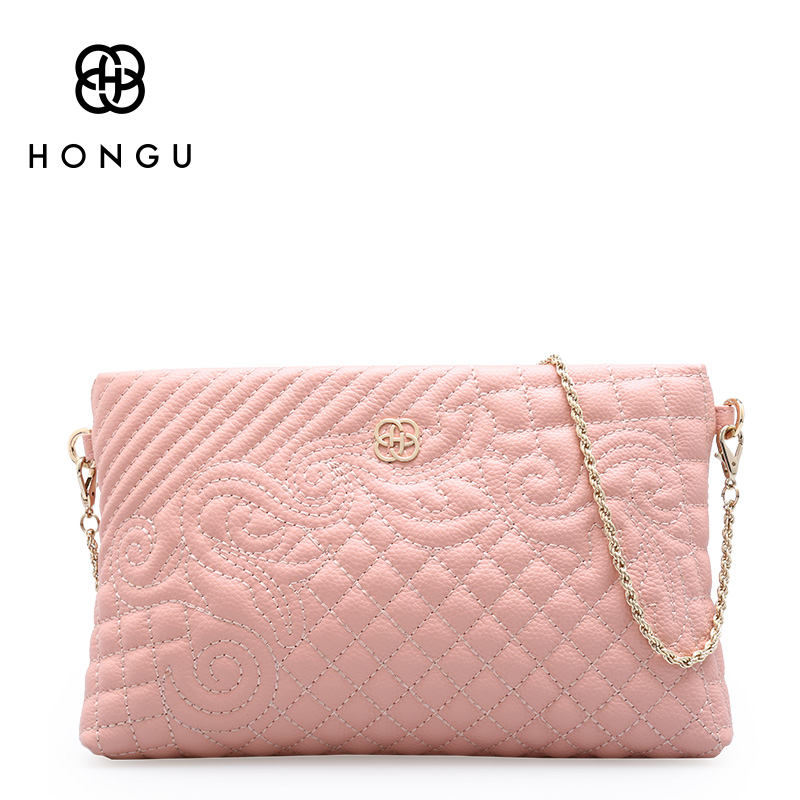HONGU Luxury Genuine Cow Leather Evening Bag Women Messenger Shoulder Handbag Chain Business Wallet Functional Beach Storage Bag women shoulder bag cossbody handbag genuine first layer of cow leather 2017 korean diamond lattice chain women messenger bag